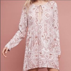 Anthropologie Lilka Paisley Print Pink Tunic Top L